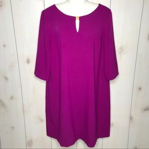 Tahari Fushia 3/4 Sleeve Shift Dress